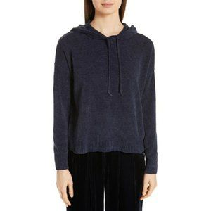 Eileen Fisher Chenille Organic Cotton Oversized Hooded Sweater in Midnight